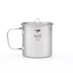 Ti3205 钛折叠单层杯Single-Wall Titanium Mug with Folding Handle and Lid