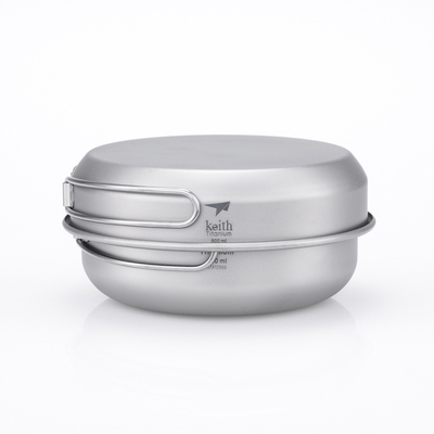 Ti6053 钛二碗一盖 3-Piece Titanium pot and Pan Cook Set