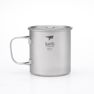Ti3207 钛折叠单层杯 Single-Wall Titanium Mug with   Folding Handle and Lid
