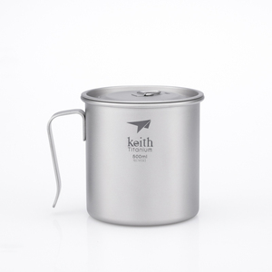 Ti3265 钛固定单层杯Single-Wall Titanium Mug with Fixed Handle and Lid