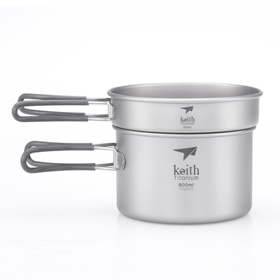 Ti6012 2件套钛锅    2-Piece Titanium pot and Pan Cook Set