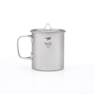 Ti3203 钛折叠单层杯 Single-Wall Titanium Mug with  Folding Handle and Lid