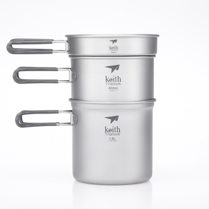 Ti6014 3件套钛锅 3-Piece Titanium pot and Pan Cook Set