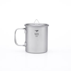 Ti3201  钛折叠单层杯Single-Wall Titanium Mug with Folding Handle and Lid