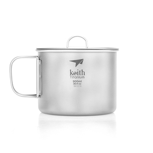 Ti3209 钛折叠单层杯 Single-Wall Titanium Mug with   Folding Handle and Lid