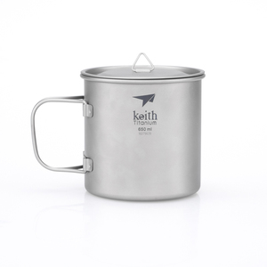 Ti3208 钛折叠单层杯Single-Wall Titanium Mug with Folding Handle and Lid