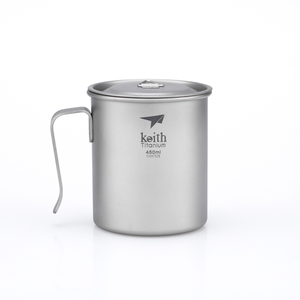 Ti3264  钛固定单层杯Single-Wall Titanium Mug with Fixed Handle and Lid