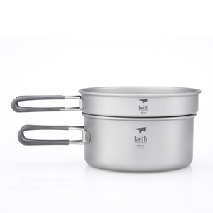 Ti6016 2件套钛锅    2-Piece Titanium pot and Pan Cook Set