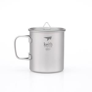 Ti3204  钛折叠单层杯Single-Wall Titanium Mug with Folding Handle and Lid
